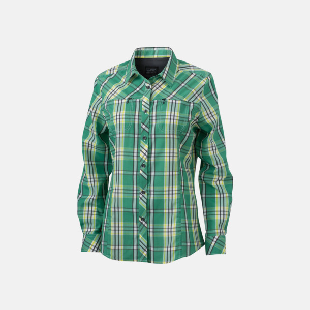 Grön/Acid Yellow (dam) Rutiga dam- och herrskjortor med reklamtryck