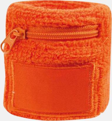 Orange Armsvettband med label och blixtlås - med tryck