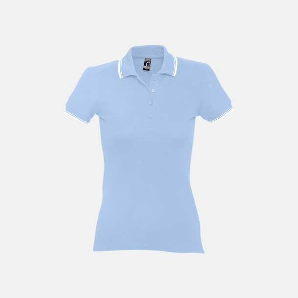 Sky Blue/Vit (dam) Snygga pikétröjor för herr och dam