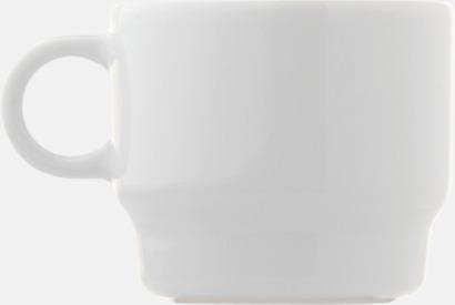 Vit Små, stapelbara porslinskoppar med reklamtryck