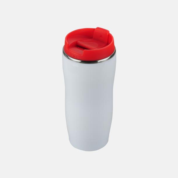 Vit / Röd Take away termosmuggar med reklamtryck