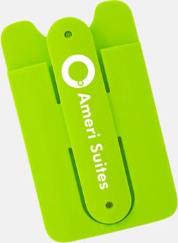 Mobilställ och -ficka som sitter på telefonens baksida - med reklamtryck