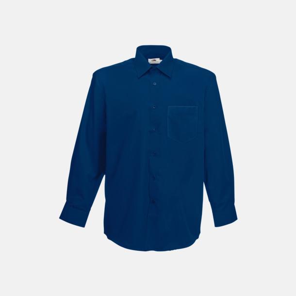 Marinblå Long Sleeve Poplin Shirt med reklamlogo