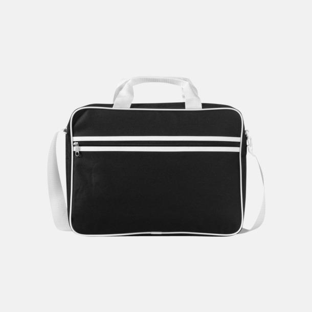 Svart / Vit Vadderade laptopväskor i retrodesign - med reklamtryck