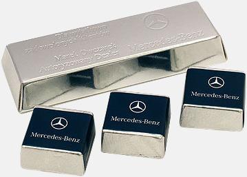 Silver Skinande chokladtackor med eget tryck