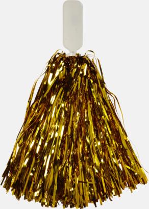 Guld Små, glittriga pom-poms med reklamtryck