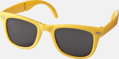 Gul (PMS 116C) Solglasögon med vikbar ram - med tryck