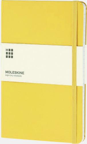 Gul (ruled) Moleskines stora anteckningsböcker (ca A5) med linjerade eller rutade sidor - med reklamtryck