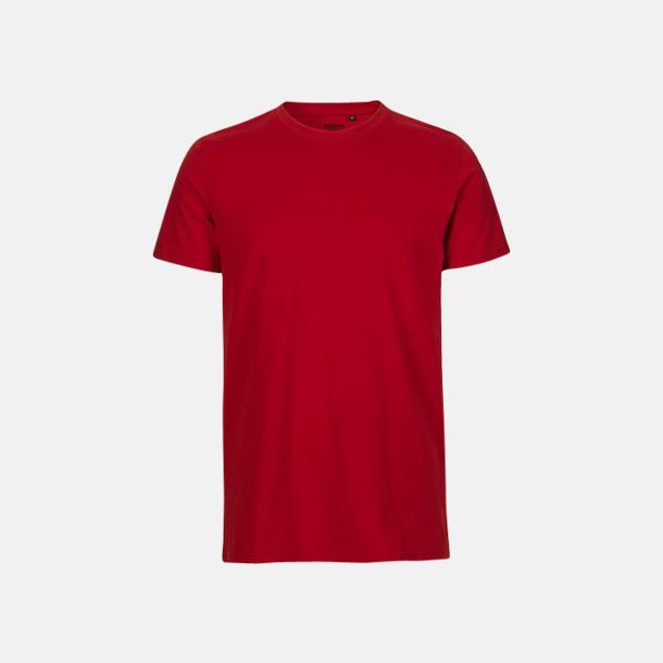 Röd (herr) Fitted t-shirts i ekologisk fairtrade-bomull med tryck