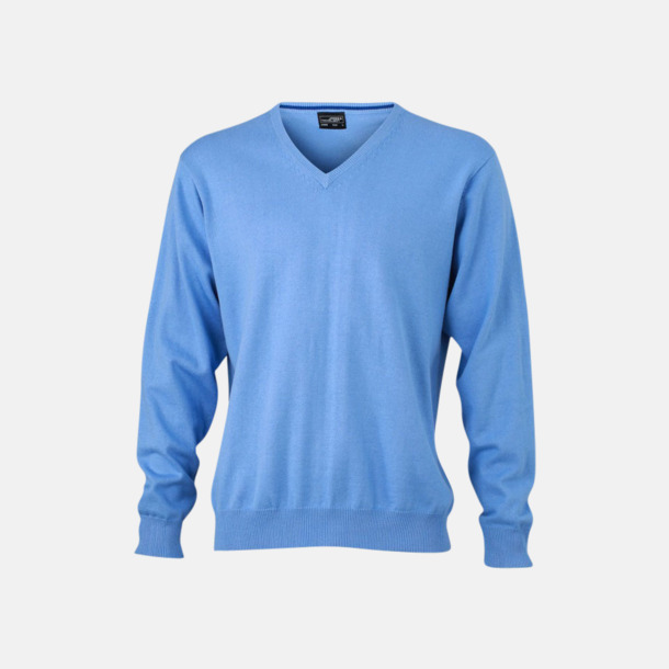 Glacier Blue V-ringade herrtröjor med eget tryck
