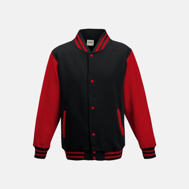 Jet Black/Fire Red Trendiga varsity-jackor för barn - med reklamtryck