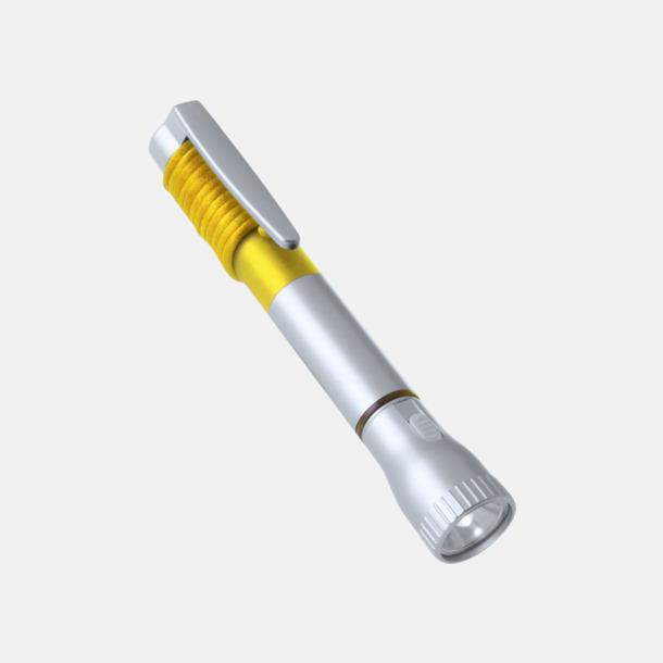 Silver / Gul Kulspetspenna med 2 LED-lampor med reklamtryck