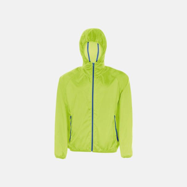 Neon Lime/Marinblå Unisex vindjacka med litet fodral - med reklamtryck