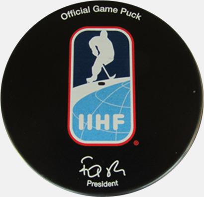 Hockeypuck med eget reklamtryck - Godkänd för matchspel
