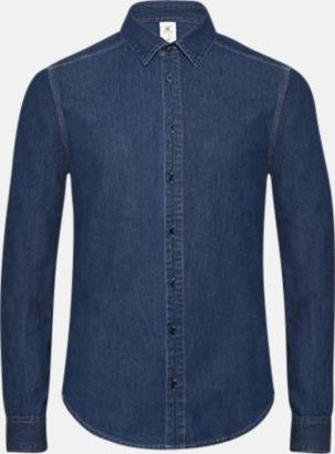 Deep Blue Denim Slimmade jeansskrojtor med tryck