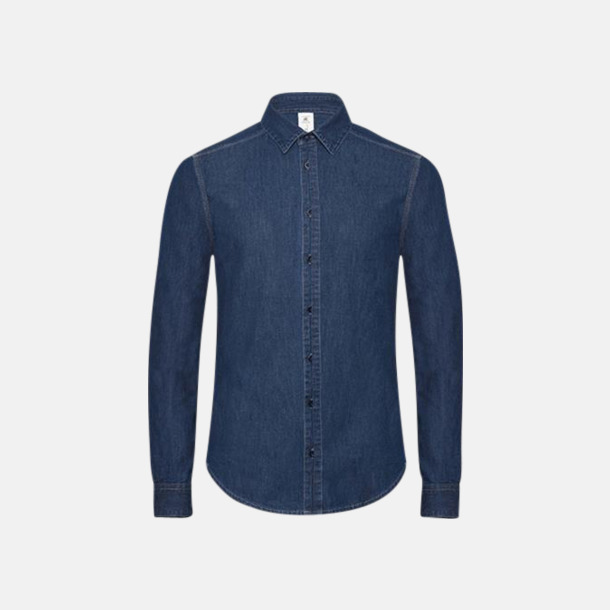 Deep Blue Denim Slimmade jeansskjortor med reklamlogo