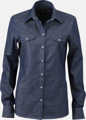 Dark Denim (dam) Easy Care premium jeansskjortor med reklamtryck