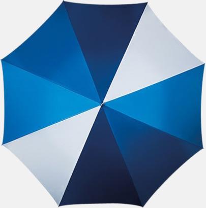Multiblå/Vit Golfparaplyer med ergonomiska trähandtag