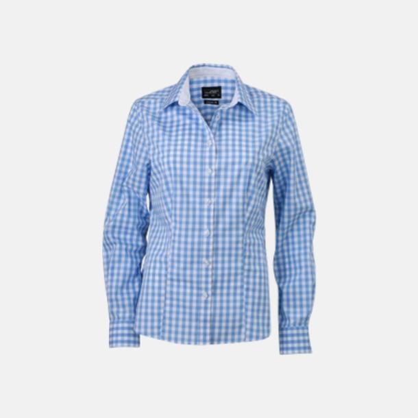 Glacier Blue/Vit (dam) Rutiga bomullsskjortor & -blusar med reklamtryck