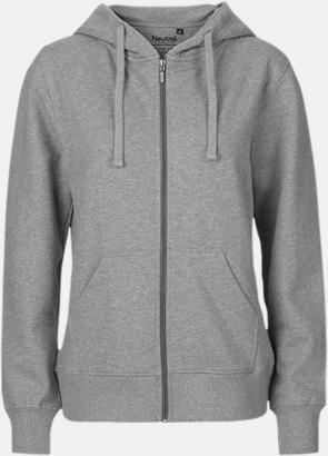 Sports Grey (dam) Ekologiska huvtröjor med blixtlås i herr- & dammodell med reklamtryck