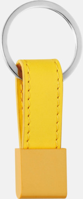 Gul Nyckelring med bricka och band i valbar färg - med reklamtryck