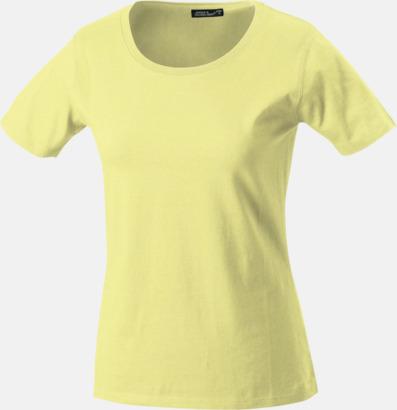 Ljusgul T-shirtar av kvalitetsbomull med eget tryck