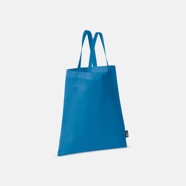 Blå (korta handtag) Billiga kassar med korta eller långa handtag - med reklamtryck