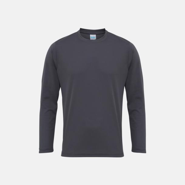 Charcoal (unisex) Unisex tränings t-shirts med långa ärmar - med reklamtryck