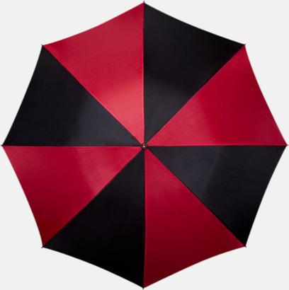 Röd / Svart Golfparaplyer med ergonomiska trähandtag