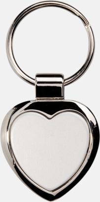 Silver Hjärtformade nyckelringar i rostfritt stål med egen lasergravyr