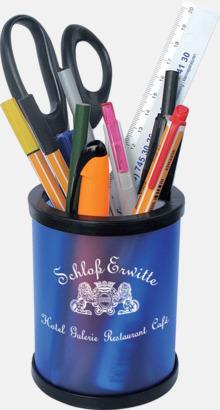 Blå (frostad)/Svart Lättmonterad pennställ som kan postas med vanligt brev - med reklamtryck