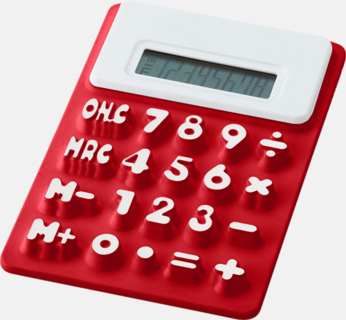 Röd Mjuka miniräknare med reklamtryck