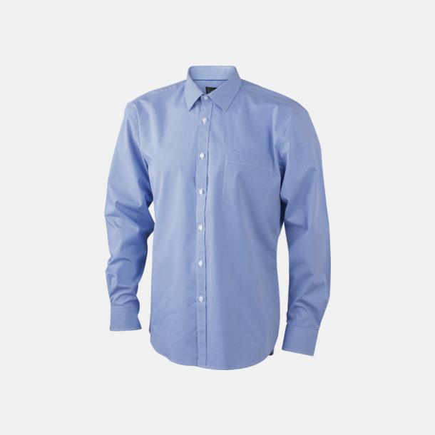 Vit/Blå (herr) Bomullslusar & -skjortor med fina rutor - med reklamtryck