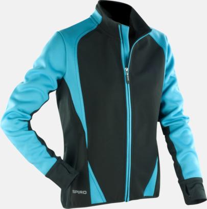 Aqua/Svart (herr) Funktions softshell jackor i herr- & dammodell med reklamtryck