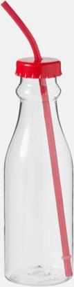 Röd Drickflaskor med sugrör - med reklamtryck