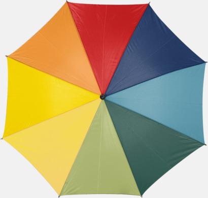 Regnbågsfärgade paraplyer med reklamtryck