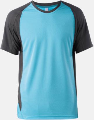 Ljusturkos/Dark Grey (solid) Tvåfärgade funktionströjor för män - med reklamtryck