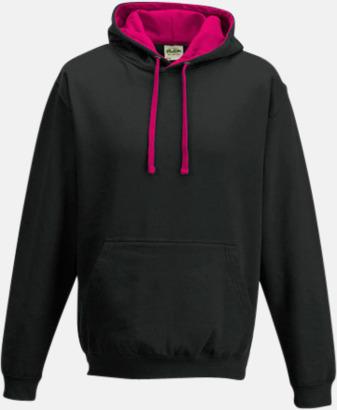 Jet Black/Hot Pink Huvtröjor med insida av luva och dragsko i kontrasterande färg - med reklamtryck