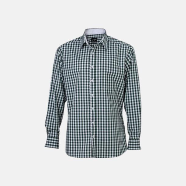 Forest Green/Vit (herr) Rutiga bomullsskjortor & -blusar med reklamtryck