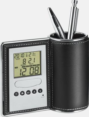 Pennställ, termometer, klocka, kalender och alarm i 1 - med reklamtryck