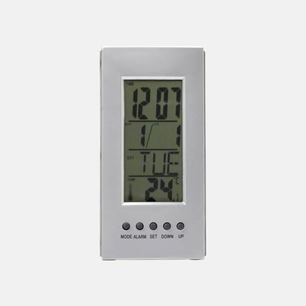 Silver Termometer med klocka & larm - med reklamtryck