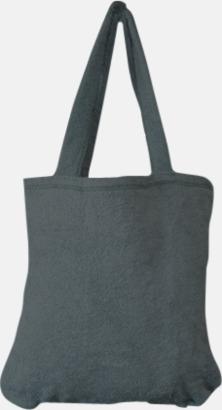 """Antracite Grey Bomullsväskor av """"handduksfrotté"""" med bordyr"""