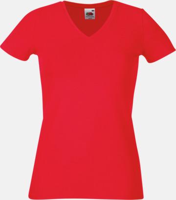 Röd V-ringad damtshirt med reklamtryck