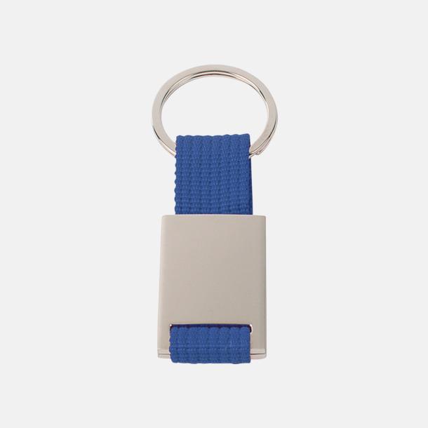 Blå / Silver Metallnyckelringar med färgade polyesterband med gravyr