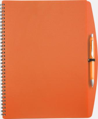 Orange A4-block med bläckpenna - med reklamtryck