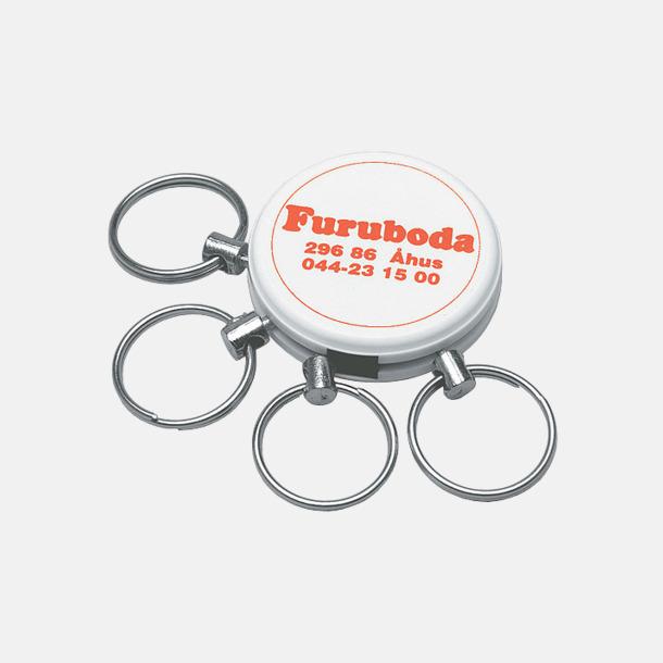 Vit Nyckelknippa med 4 ringar - med reklamtryck