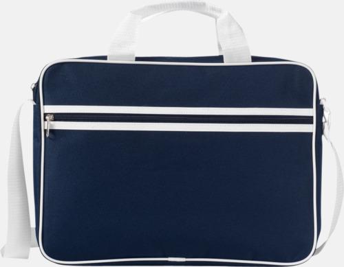 Marinblå / Vit Vadderade laptopväskor i retrodesign - med reklamtryck