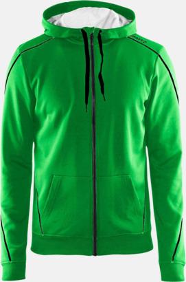 Craft Green/Svart/Grey Melange Tränings huvtröjor med dragkedja med reklamtryck
