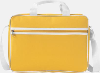 Gul / Vit Vadderade laptopväskor i retrodesign - med tryck