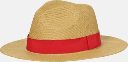 Straw/Röd Hatt i ledig sommarstil med reklamtryck